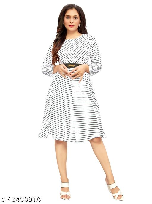 DClub Women White Color Striped Dress