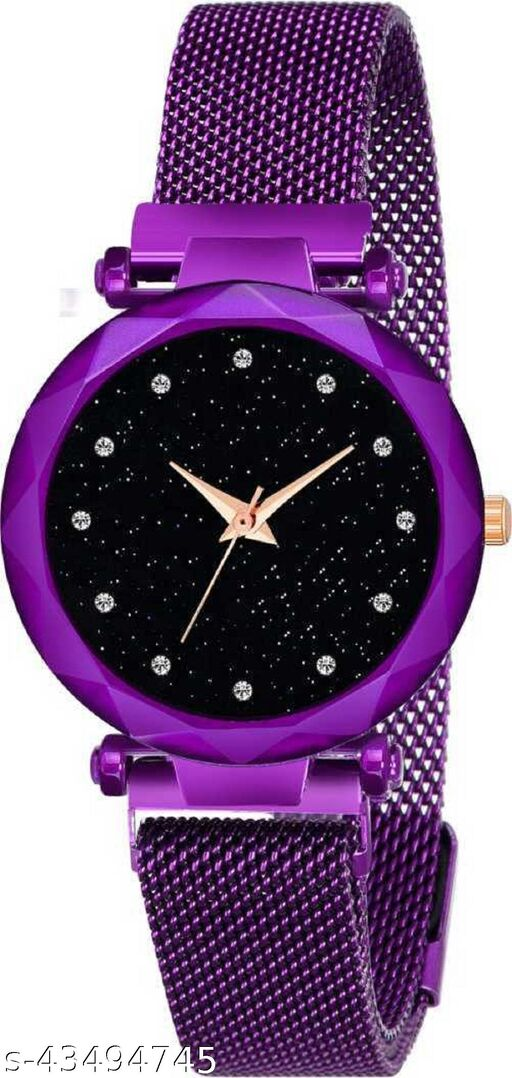 SOO Luxury Mesh Magnet Buckle Starry sky Quartz Watches For girls Fashion Mysterious Purple Lady Analog Watch Analog Watch