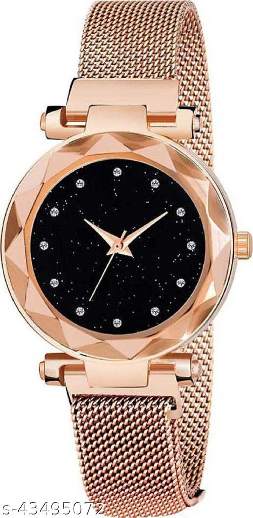 SOO Gold Mesh Magnet Strap Magnetic Mesh Strap Analog Watch Girl's watch Analog Watch