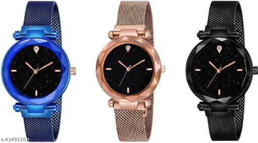 SOO Luxury Mesh Magnet Buckle Starry sky Quartz Watches For girls Fashion Mysterious Black Lady Analog Watch