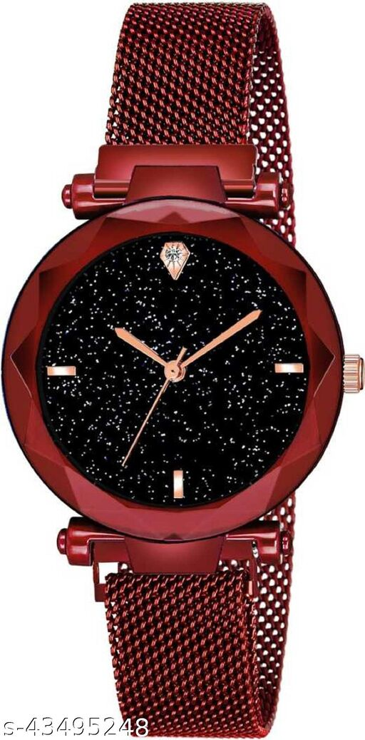SOO New Exclusive Choice Sparkling Dial Diamond Cut red Magnetic Strap Analog Watch  For Women