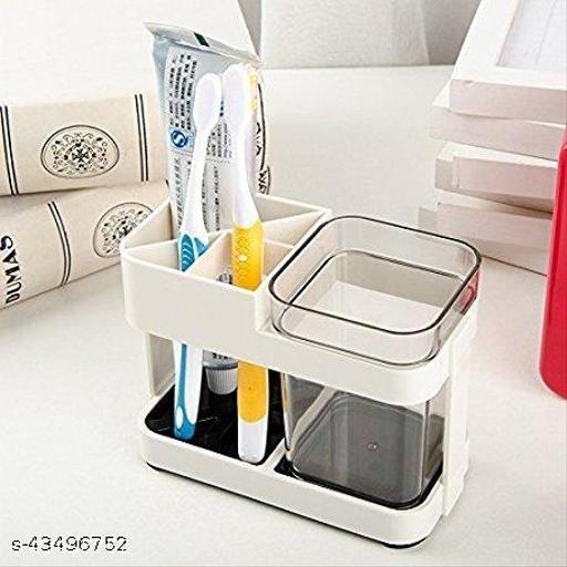 CRAFTYWARE 1 Cup Toothbrush Toothpaste Stand Holder Bathroom Storage Organizer
