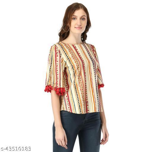 Trendy Cotton Womens Multicolor Printed Cotton Top
