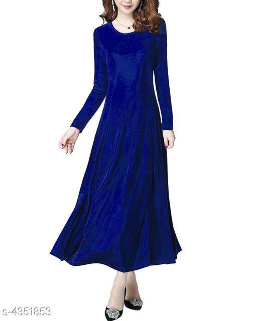 Solid Blue Calf-Length Velvet Dress