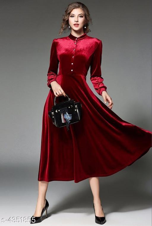 Solid Red Calf-Length Velvet Dress