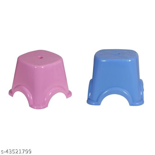 Multipurpose Unbreakable Stool, Blue, Pink (Combo Of 2)