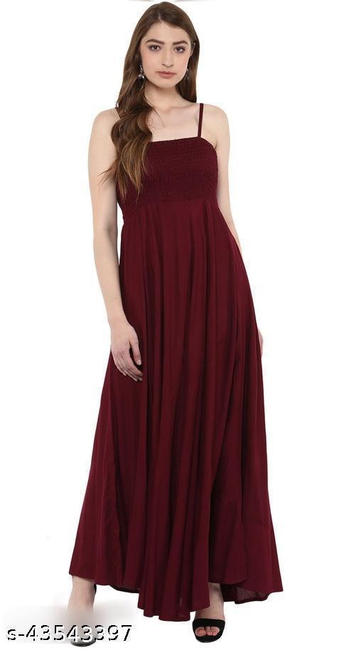 RSF Maroon Rayon A-Line Bobbin Maxi Dress for Women