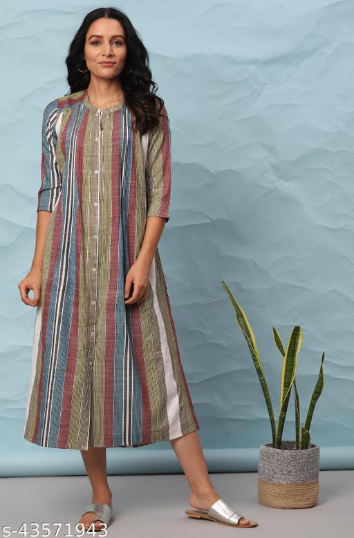 Janasya Women's Multicolor Cotton Western Dress
