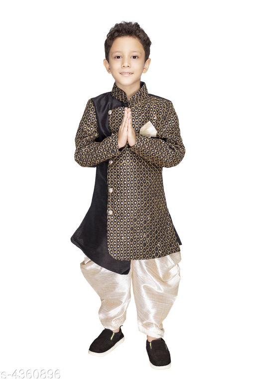 Kurta Sets Ethnic Silk Cotton Blend Kid's Boy's Kurta Set  *Fabric* Silk Cotton Blend  *Sleeves* Full Sleeves Are Included  *Size* Age Group (1 - 2 Years) - 18 in Age Group (2 - 3 Years) - 20 in Age Group (3 - 4 Years) - 22 in Age Group (4 - 5 Years) - 24 in Age Group (5 - 6 Years) - 26 in Age Group (6 - 7 Years) - 28 in Age Group (7 - 8 Years) - 30 in Age Group (8 - 9 Years) - 30 in Age Group (9 - 10 Years) - 32 in  *Type* Stitched  *Color* Kurta - Black , Dhoti - White  *Description* It Has 1 Piece Of Kid's Boy's Kurta & 1 Piece Of Kid's Boy's Dhoti  *Pattern & Work * Kurta - Printed , Dhoti - Solid  *Sizes Available* 2-3 Years, 3-4 Years, 4-5 Years, 5-6 Years, 6-7 Years, 7-8 Years, 8-9 Years, 9-10 Years, 1-2 Years *   Catalog Rating: ★3.7 (83)  Catalog Name: Doodle Ethnic Silk Cotton Blend Kid's Boy's Kurta Sets Vol 1 CatalogID_626098 C58-SC1170 Code: 845-4360896-