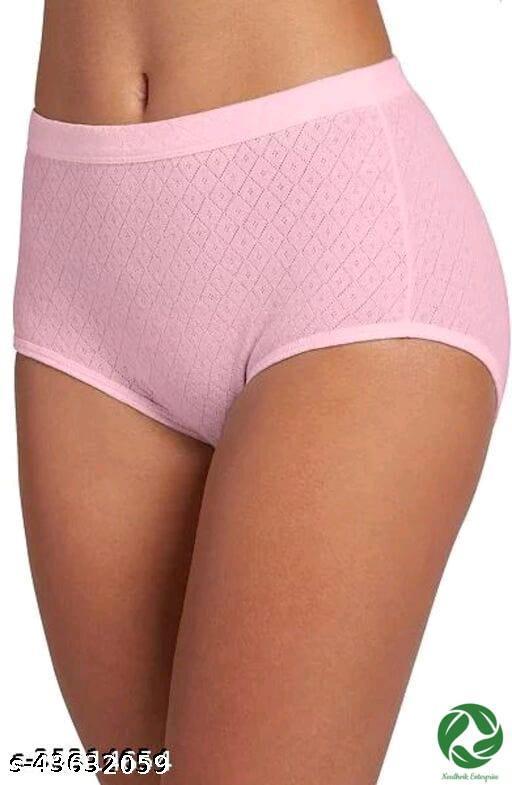 Women Seamless Pink Cotton Panty