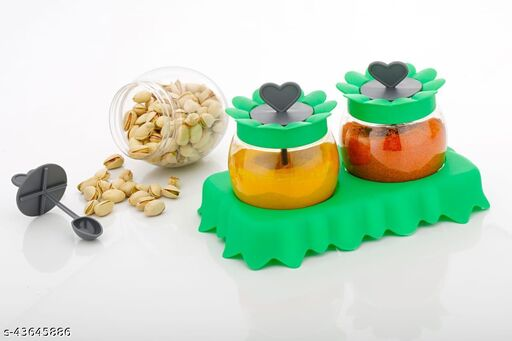 UNICEPT Sunflower Shape Pickle/Achar Dining Set 2 in 1 with Inside Spoon, Salt & Pepper Set for Dining Table Stand (Color-Green)
