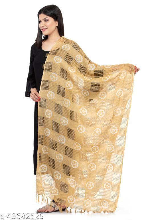 A R SILK Women's Cotton Golden Batik Print Dupatta # Party Wear