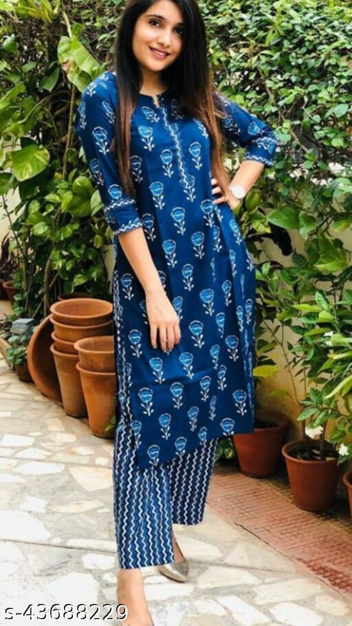 Round Neck Straight Kurti With Pant Set For Women