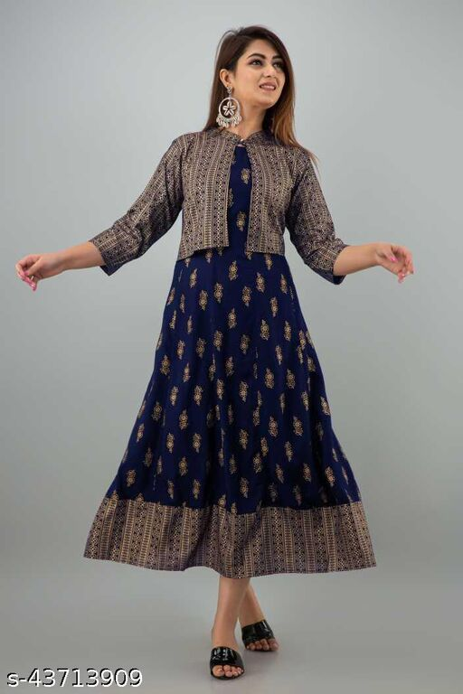 Women Printed A-line Kurti with Jacket  (Navy Blue)