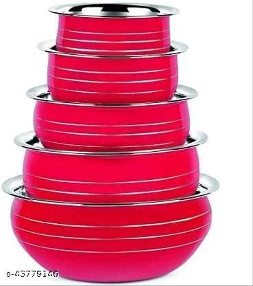 Stainless Steel Powder Coating Handi Set Red Color Capacity: 350 Ml, 550 Ml, 850 Ml, 1250 ML, 1650 ML