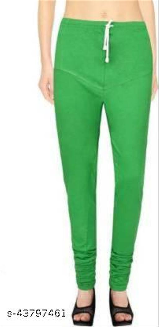 Ruby KriSo Cotton Free Size Churidar legging Green Colour