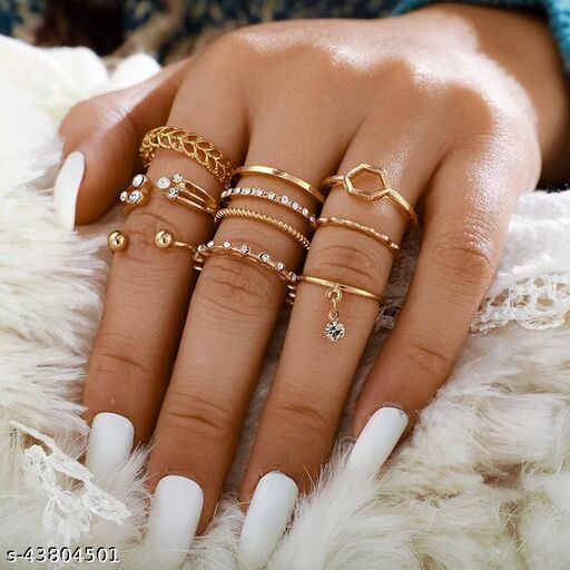 Gold Plated 8 Piece White Crystal Drop Heart Multi Designs Ring Set For Women & Girls