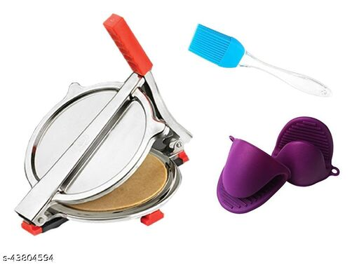 Combo of Stainless Steel Puri/ Roti Maker Press, Silicone Oil Brush and Silicone Utensil Gripper Tool