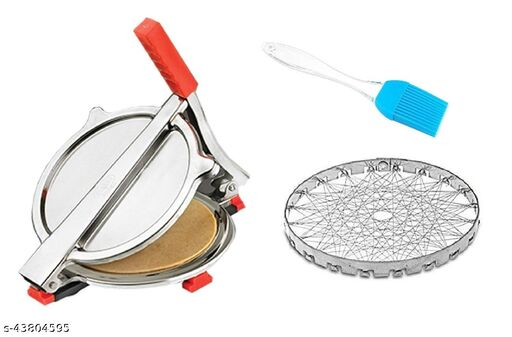 Combo of Stainless Steel Puri/ Roti Maker Press, Silicone Oil Brush and Steel Round Tanddor/ Roasting Net