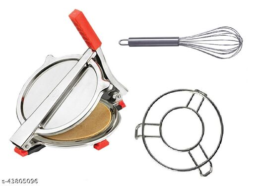 Combo of Stainless Steel Puri/ Roti Maker Press, Stainless Steel Egg Beater Whisk and Steel Cooker/ Pot Stand