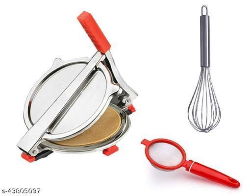 Combo of Stainless Steel Puri/ Roti Maker Press, Stainless Steel Egg Beater Whisk and Plastic Tea Strainer