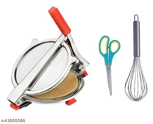 Combo of Stainless Steel Puri/ Roti Maker Press, Stainless Steel Egg Beater Whisk and Kitchen Scissor