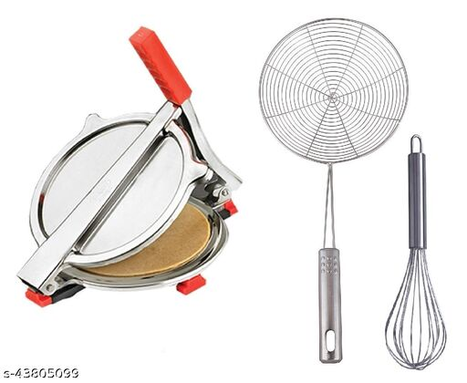 Combo of Stainless Steel Puri/ Roti Maker Press, Stainless Steel Egg Beater Whisk and Steel Deep Fry Strainer
