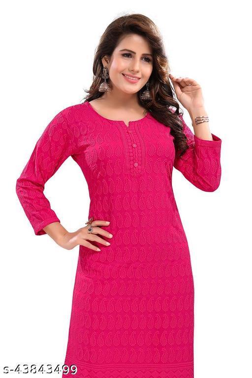 women's beautiful pink rayon cotton straight embroidered kurta.