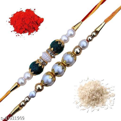 Spark Handmade Rakhi For Brother, Bhaiya Bhabhi Rakhi Gemstone & Pearls Set of-2