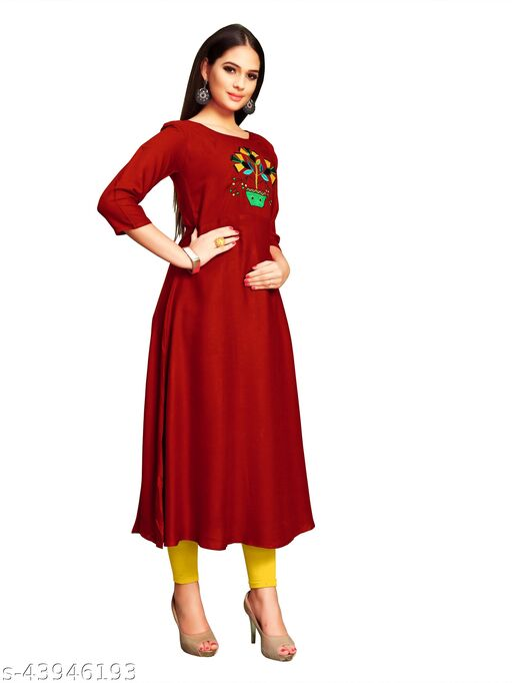 Women's Rayon Fabric Classic A-Line /Rayon Anarkali Kurti/A-Line /Rayon Hand Work