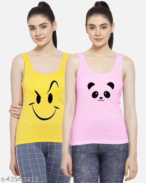 Women Yellow Pink Smily Panda Cotton Vest