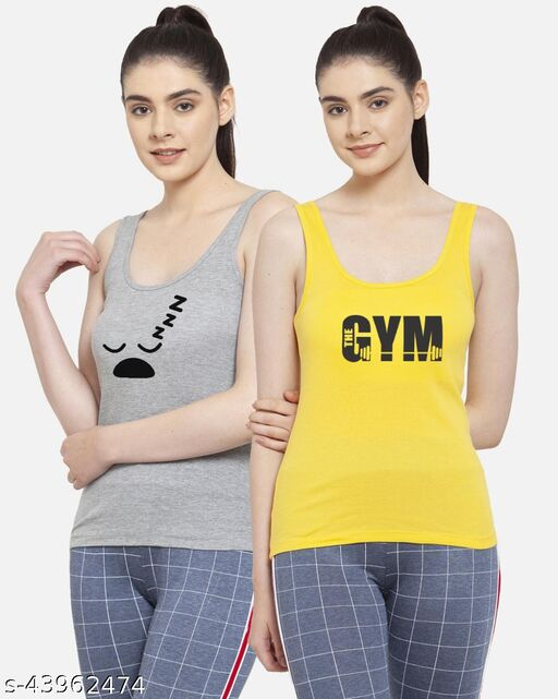 Women Grey Yellow Sleepy Gym Casual Spaghetti