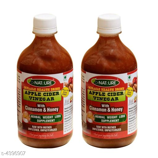 Supplement (Herbal/Vitamins) DrNATcURE Apple Cider Vinegar with  Cinnamon and Honey(Herbal Weight Loss)-500ml   *Product Name* DrNATcURE Apple Cider Vinegar with  Cinnamon and Honey(Herbal Weight Loss)-500ml  *Brand Name* DrNATcURE  *Product Type* Apple Cider Vinegar  *Capacity * 500ml Each  *Product  Description* This product is a blend of naturally brewed Himalayan apple juice, Banana Stem Juice and honey. It contains strands of 'mother' of vinegar that lends it a cloudy look, but is a proof of high quality unfiltered vinegar. The combined goodness of ingredients helps in managing weight loss and cholesterol level apart from aiding in enhancing digestion, managing blood sugar and cholesterol levels. This health drink is a blend of finest apple cider vinegar with banana stem juice and honey is 100 percent natural and is made from high quality ingredients Is made from natural apple juice & not from chemicalized concentrate. The strands of 'mother' of vinegar that lends it a cloudy look, but is a proof of high quality unfiltered unpasteurized vinegar The combined goodness of ingredients helps in managing weight loss and renal care. It also aids in losing weight, improving digestion and managing blood sugar levels Its anti-bacterial, anti-oxidant.  *Package Contains * It Has 2  Pieces Of   Apple Cider Vinegar with  Cinnamon and Honey  *Sizes Available* Free Size *   Catalog Rating: ★3.8 (54)  Catalog Name: DrNATcURE Apple Cider Vinegar with  Cinnamon and Honey(Herbal Weight Loss) CatalogID_632251 C126-SC1573 Code: 516-4396907-899