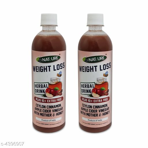 Supplement (Herbal/Vitamins) DrNATcURE Herbal Weight Loss ) -Apple Cider Vinegar with  Cinnamon and Honey(500ml-Pack of 2)   *Product Name* DrNATcURE Herbal Weight Loss ) -Apple Cider Vinegar with  Cinnamon and Honey(500ml-Pack of 2)  *Brand Name* DrNATcURE  *Product Type* Apple Cider Vinegar  *Capacity * 500ml Each  *Product  Description* This product is a blend of naturally brewed Himalayan apple juice, Banana Stem Juice and honey. It contains strands of 'mother' of vinegar that lends it a cloudy look, but is a proof of high quality unfiltered vinegar. The combined goodness of ingredients helps in managing weight loss and cholesterol level apart from aiding in enhancing digestion, managing blood sugar and cholesterol levels. This health drink is a blend of finest apple cider vinegar with banana stem juice and honey is 100 percent natural and is made from high quality ingredients Is made from natural apple juice & not from chemicalized concentrate. The strands of 'mother' of vinegar that lends it a cloudy look, but is a proof of high quality unfiltered unpasteurized vinegar The combined goodness of ingredients helps in managing weight loss and renal care. It also aids in losing weight, improving digestion and managing blood sugar levels Its anti-bacterial, anti-oxidant.  *Package Contains * It Has 2  Pieces Of   Apple Cider Vinegar with  Cinnamon and Honey  *Sizes Available* Free Size *   Catalog Rating: ★4 (79)  Catalog Name: Free Gift DrNATcURE for Heart & Diabetes Care - Apple Cider Vinegar Blended with Ginger, Garlic, Fenugreek, Lemon, Honey(500 ml-Pack of 4) CatalogID_632251 C126-SC1573 Code: 585-4396907-899