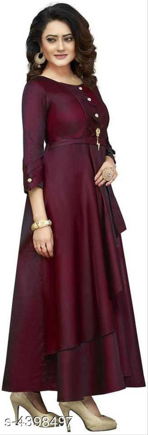 Solid Maroon Maxi Dress