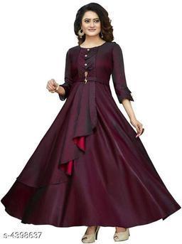 Women's Solid Maroon Taffeta Silk Dress
