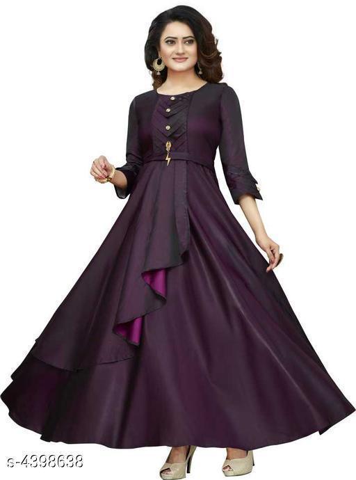 Women's Solid Purple Taffeta Silk Dress
