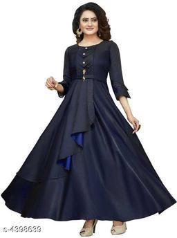 Women's Solid Navy Blue Taffeta Silk Dress