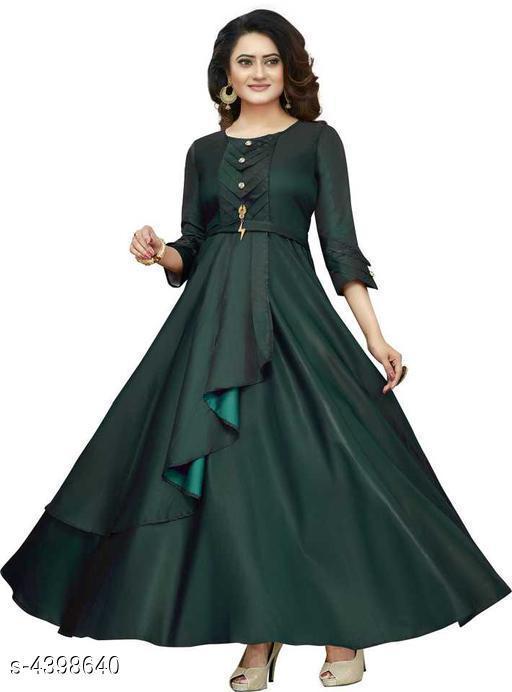 Women's Solid Green Taffeta Silk Dress