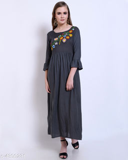 Women's Embroidered Grey Rayon Dress