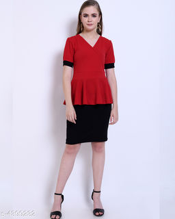 Women's Solid Dark Multicolour Cotton Blend Dress