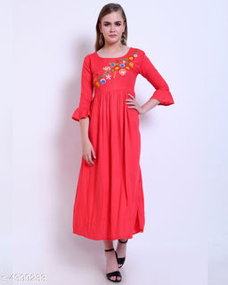 Women's Embroidered Pink Rayon Dress