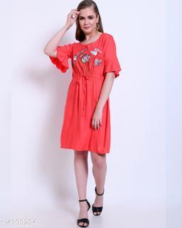 Women's Printed Peach Rayon Dress