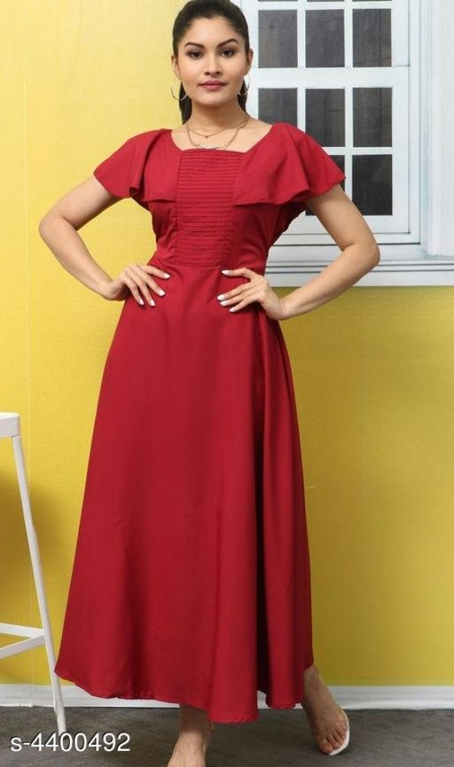Women's Solid Maroon Poly Crepe Dress