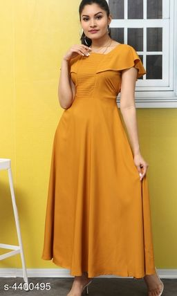 Women's Solid Mustard Poly Crepe Dress