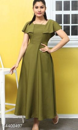 Women's Solid Olive Poly Crepe Dress