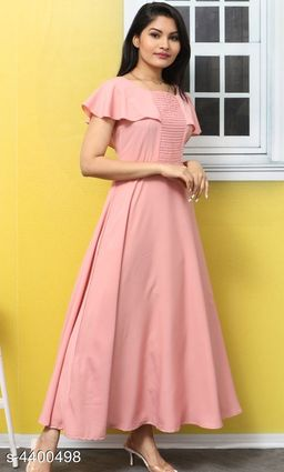 Women's Solid Pink Poly Crepe Dress