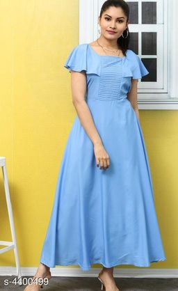 Women's Solid Blue Poly Crepe Dress