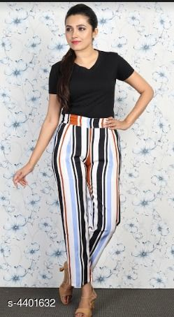 Trousers & Pants Grace Villa Women's Trouser Pant  *Fabric* Polyester  *Size* 28 in, 30 in, 32 in, 34 in  *Length* Up To 40 in  *Type* Stitched  *Description* It Has 1 Piece Of Women's Trouser Pant  *Pattern* Striped  *Sizes Available* 28, 30, 32, 34 *    Catalog Name: Free Mask Stylish Grace Villa Women'S Trouser Pants Vol 1 CatalogID_633063 C79-SC1034 Code: 523-4401632-