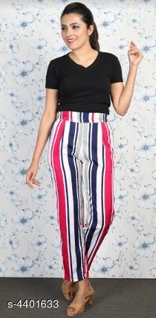 Trousers & Pants Grace Villa Women's Trouser Pant  *Fabric* Polyester  *Size* 28 in, 30 in, 32 in, 34 in  *Length* Up To 40 in  *Type* Stitched  *Description* It Has 1 Piece Of Women's Trouser Pant  *Pattern* Striped  *Sizes Available* 28, 30, 32, 34 *    Catalog Name: Free Mask Stylish Grace Villa Women'S Trouser Pants Vol 1 CatalogID_633063 C79-SC1034 Code: 523-4401633-